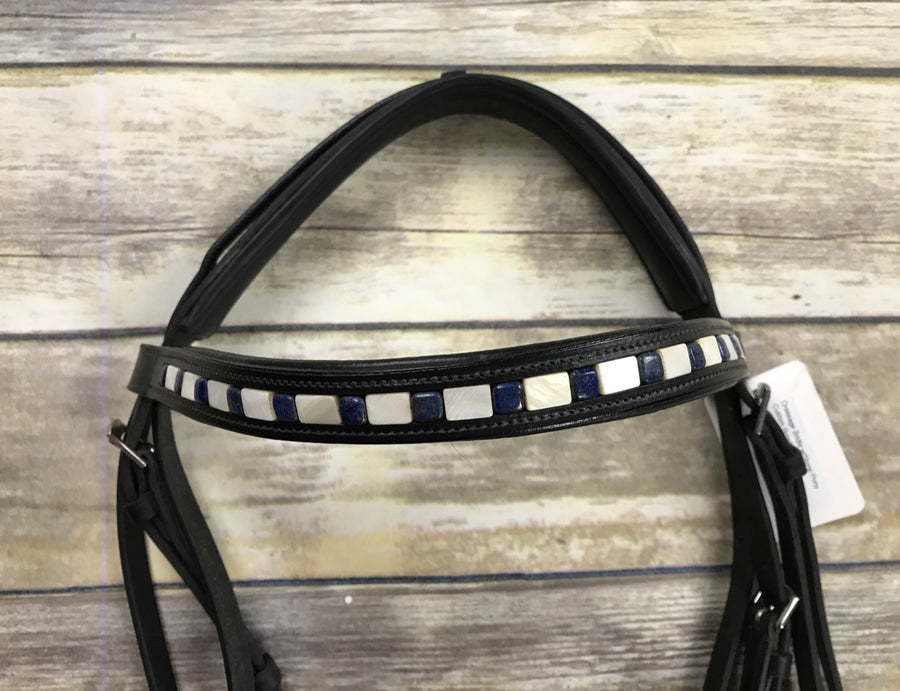 Dressage Bridle w/Stone Pony Custom Browband in Black - Browband View