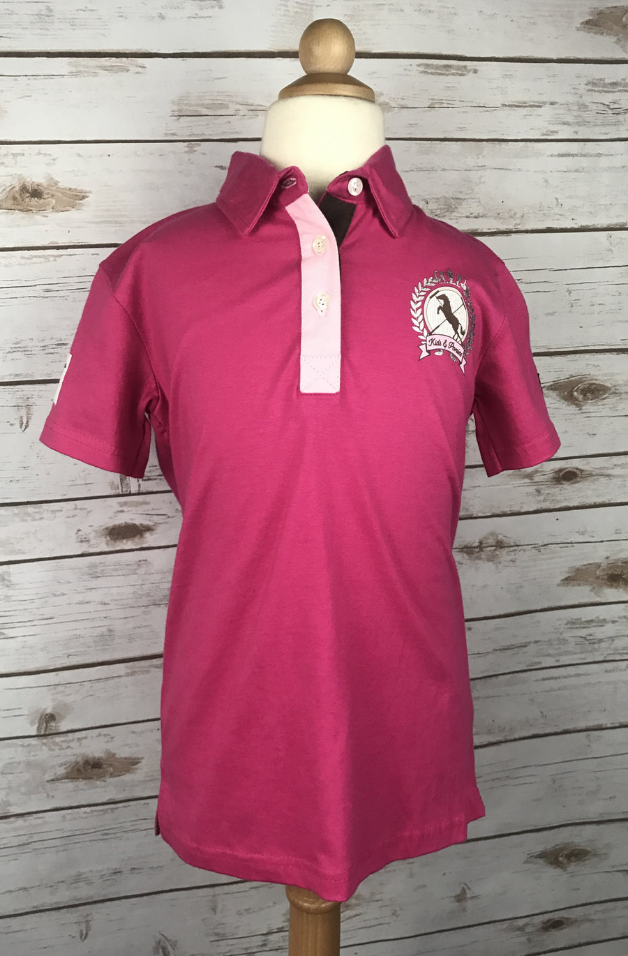 Horze Dani Jersey Polo in Pink - Front View