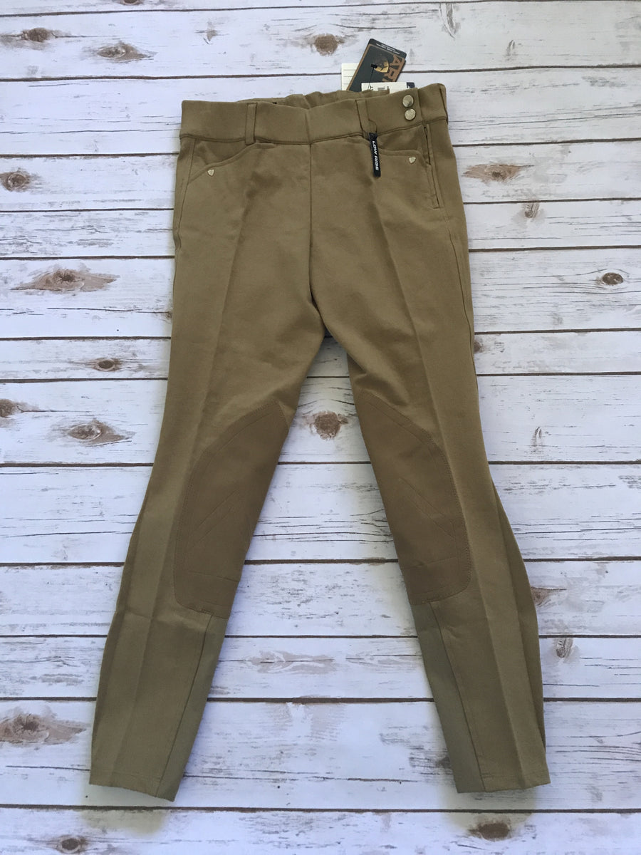 Ariat Heritage Low Rise Side Zip Breeches in Khaki- Front View