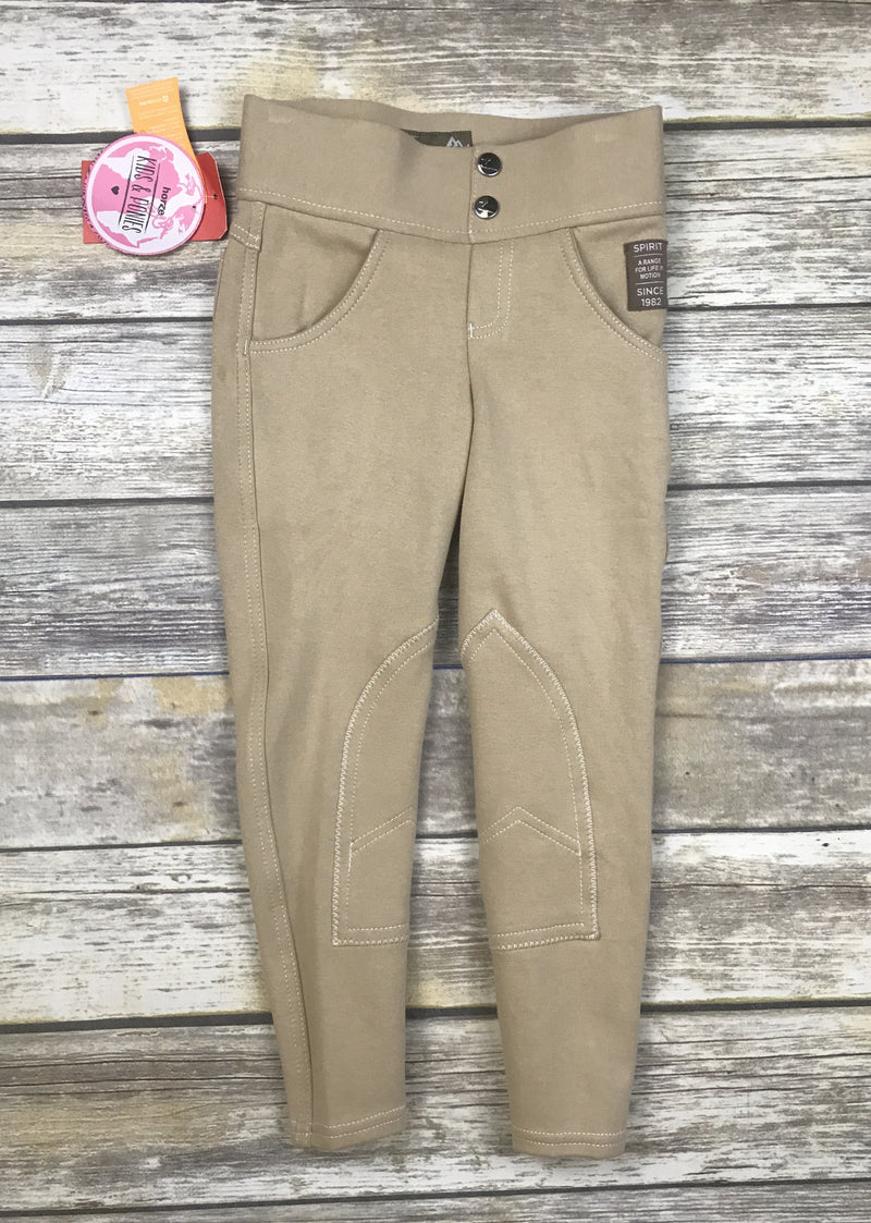 Horze Paige Pull-On Breeches in Tan - Child's Small