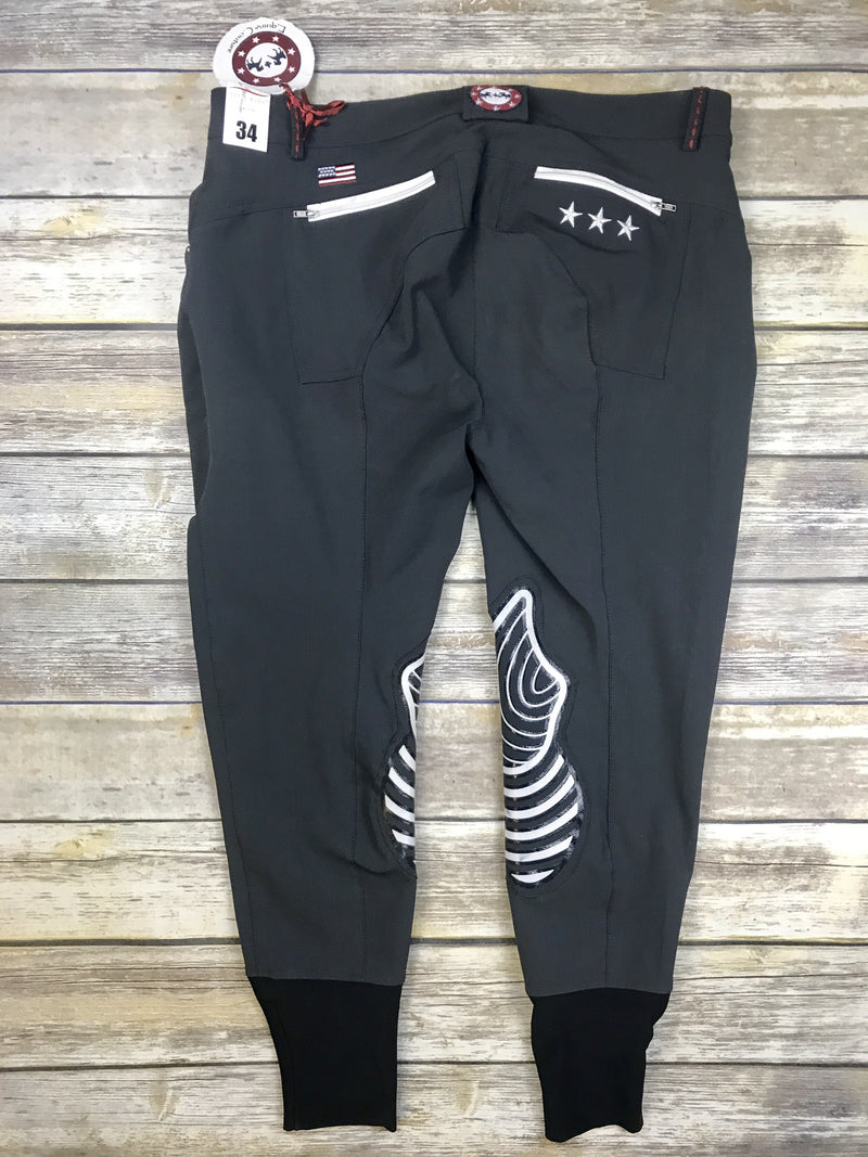 Equine Couture Stars and Stripes Breeches in Charcoal - Women's 34