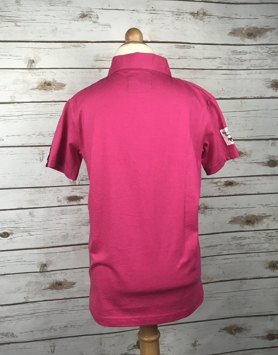 Horze Dani Jersey Polo in Pink -  Back View