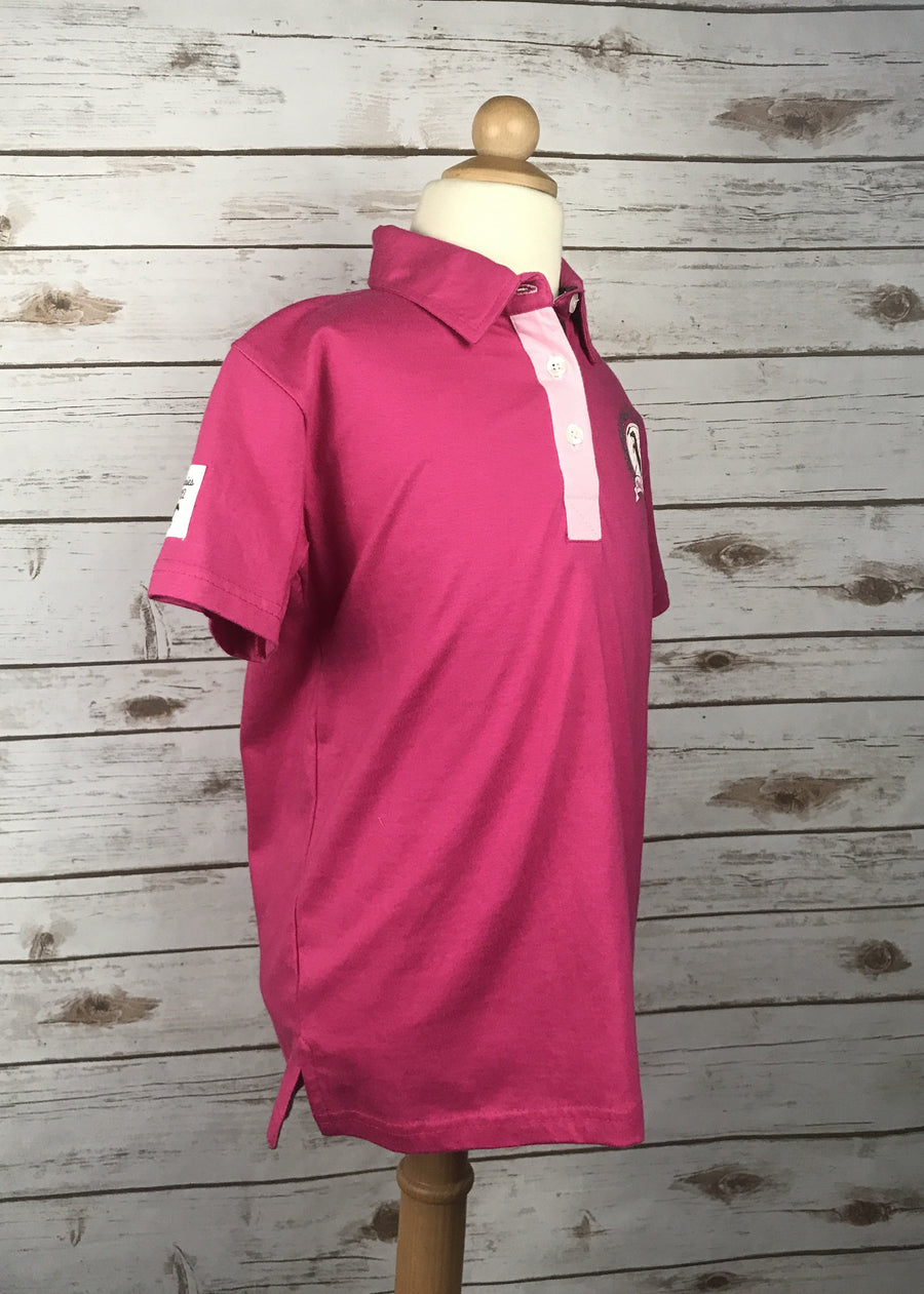 Horze Dani Jersey Polo in Pink - Right Side View
