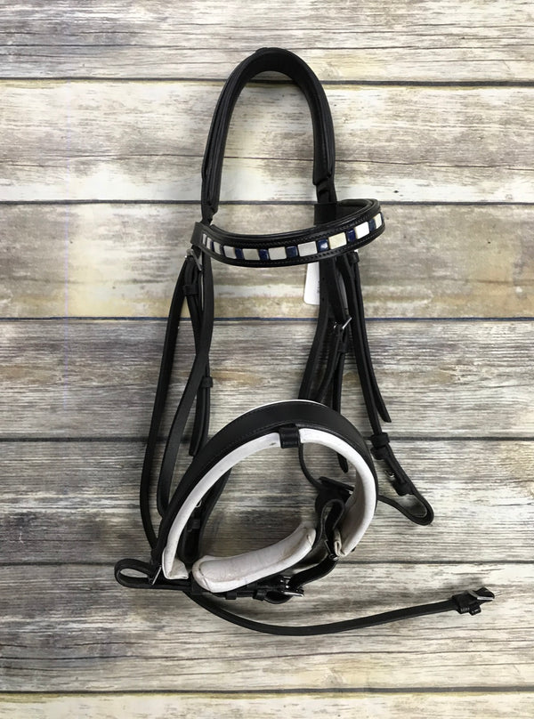 Dressage Bridle w/Stone Pony Custom Browband in Black - Approx. Horse/Full Size