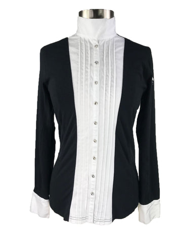 Goode Rider Prix Show Shirt in Black and White - Front View