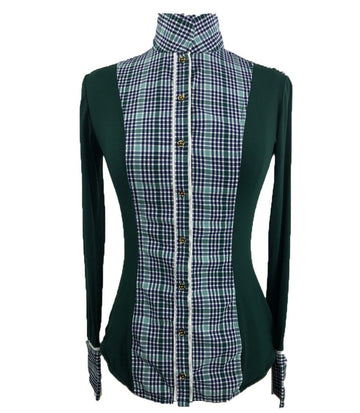 Le Fash Open Placket Shirt in Hunter Green/Plaid - Women's XS