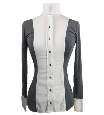 Le Fash White Twill w/ Heather Open Placket in Grey/White - Women's XS