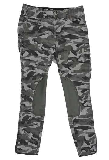 front view of Goode Rider Jean Knee Patch Breeches in Grey Camo