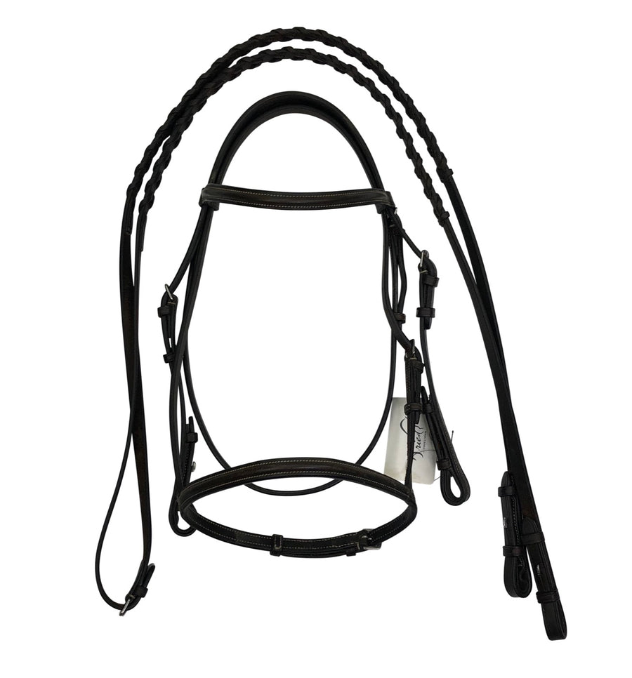 front view of Bobby's English Tack Plain Raised Snaffle Bridle in Dark Brown
