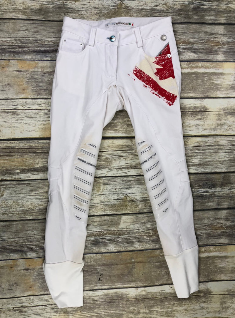 Animo Canadian Flag Breeches in White - Women's IT 36 (US 22)