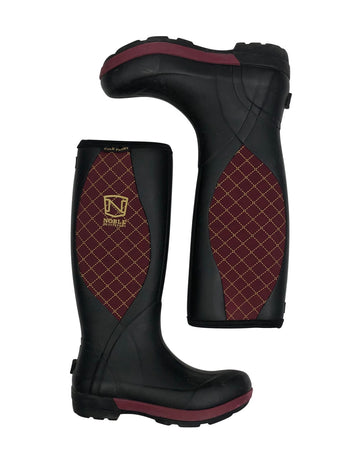 top view of Noble Outfitters Cold Front Muds Boots in Black/Burgundy