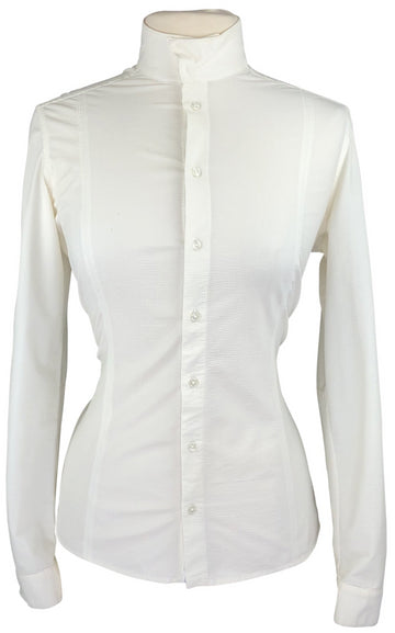 front view of FITS Claire Long Sleeve Show Shirt in Ivory