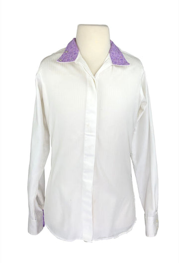 front view of Essex Classics Performance Coolmax Show Shirt in White/Purple Floral