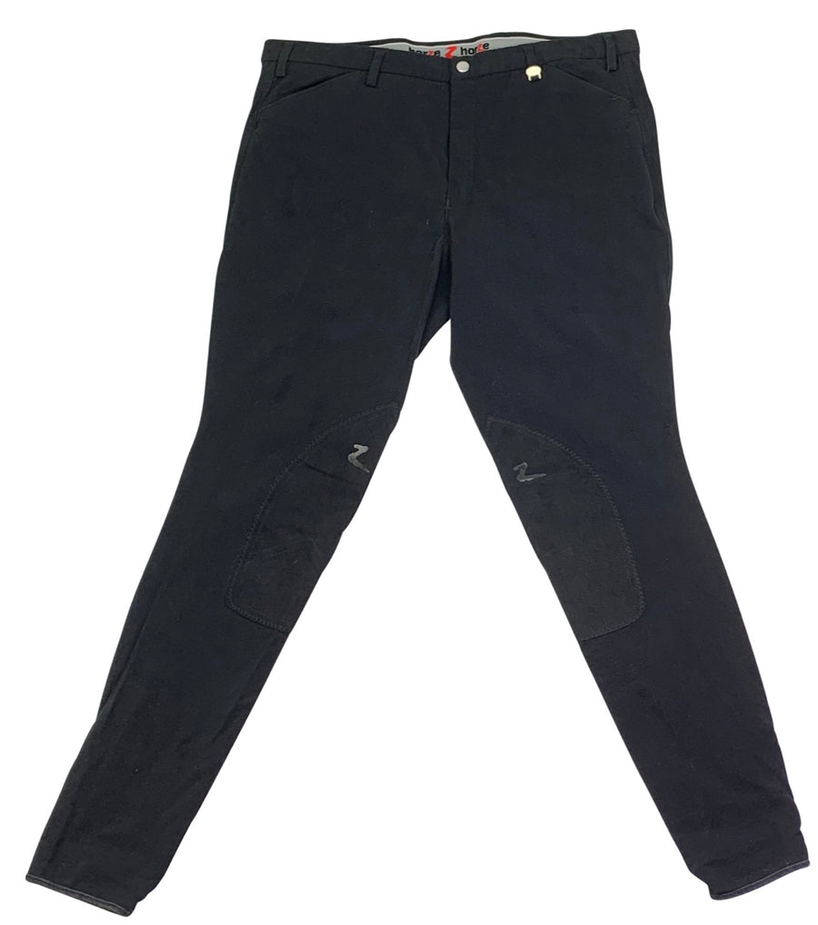 Horze Grand Prix Knee Patch Breeches in Black