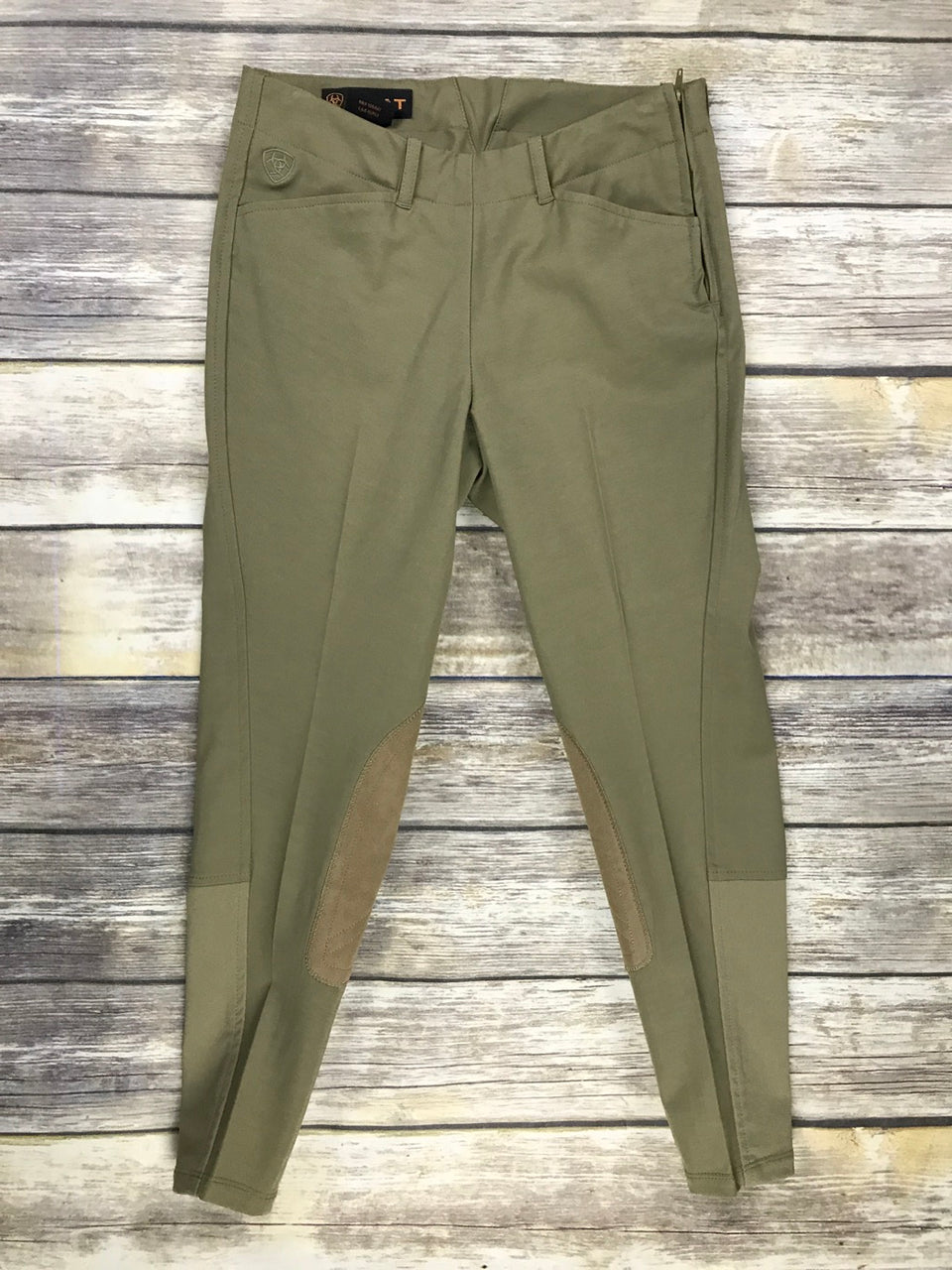 Ariat Side Zip Breeches in Green Beige - Children's 12