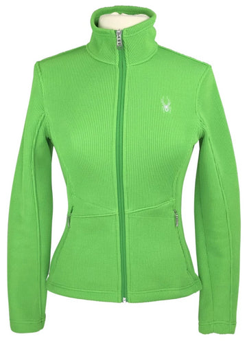 front view of Spyder Knit Jacket in Lime Green
