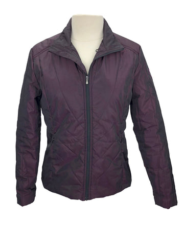front view of Irideon Cross Rail Quilted Jacket in Pretty in Plum
