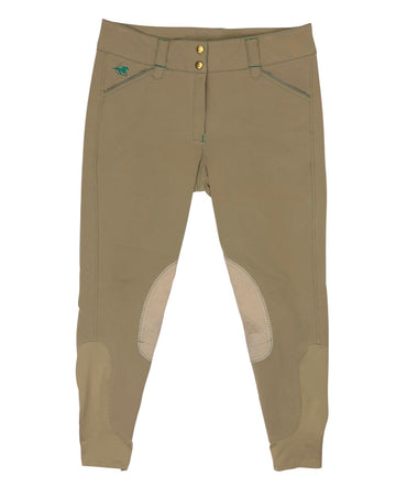 front view of SmartPak Piper Knee Patch Breeches in Beige/Emerald