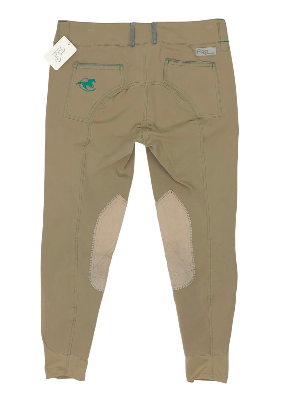 back view of SmartPak Piper Knee Patch Breeches in Beige/Emerald
