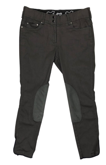 front view of Goode Rider Knee Patch Breeches in Brown Leather Look