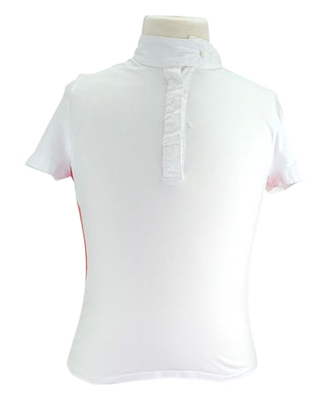 front view of Kaki Apparel Short Sleeve Show Shirt in White