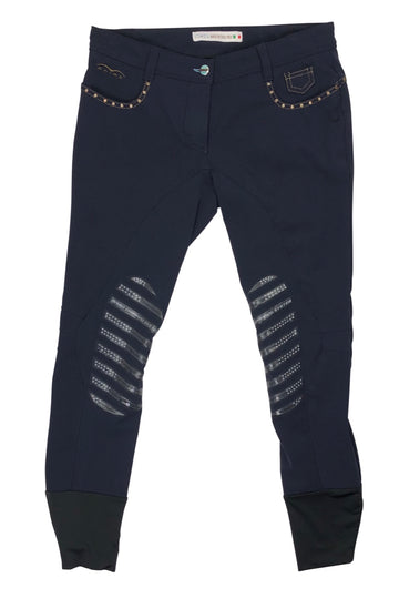 front view of Animo Studded Pocket Breeches in Navy