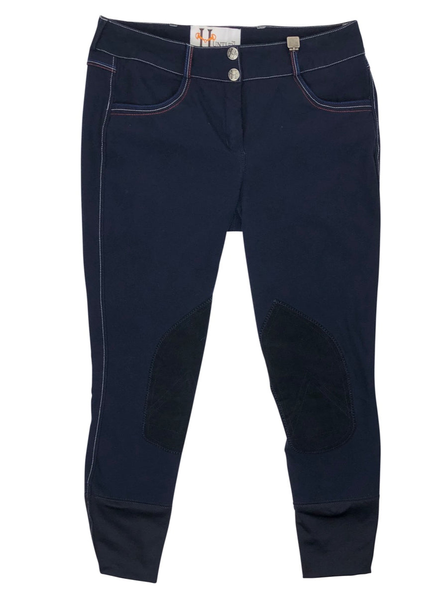 front view of Huntley Knee Patch Breeches in Navy/Red/White Stitching