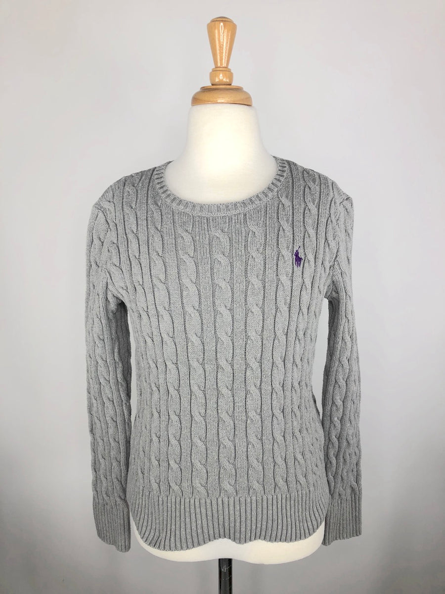 Polo Ralph Lauren Cable-Knit Sweater in Grey - Front View
