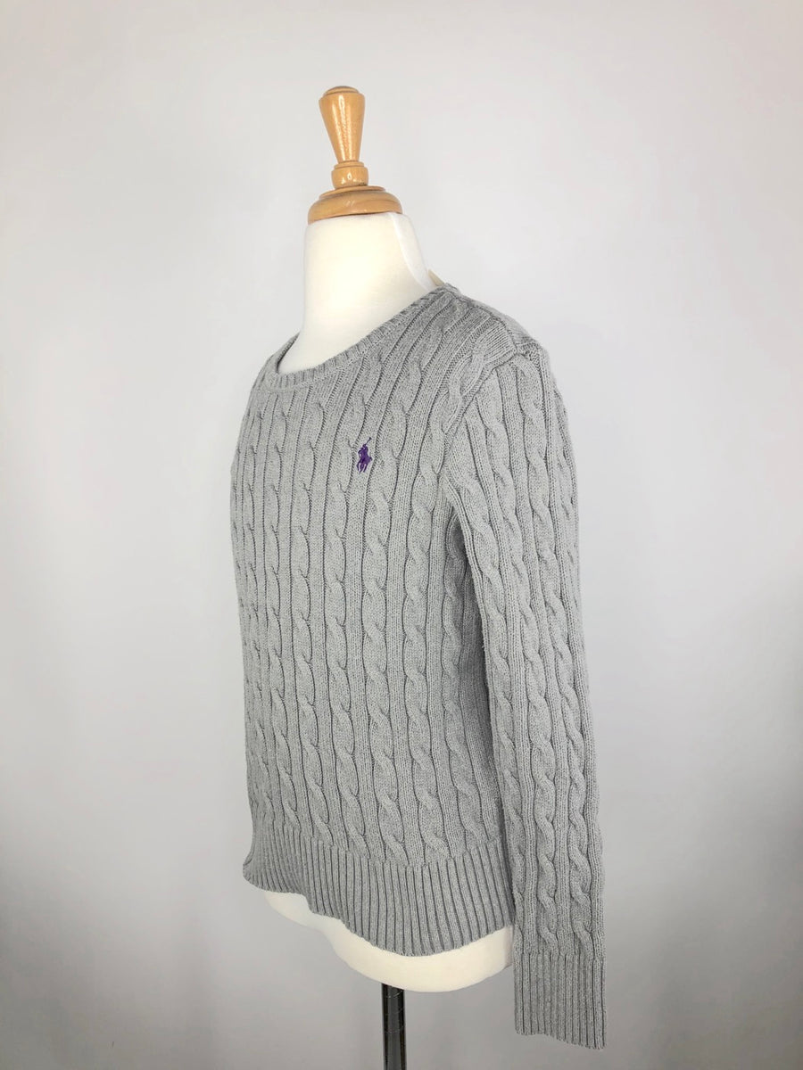 Polo Ralph Lauren Cable-Knit Sweater in Grey - Left Side View