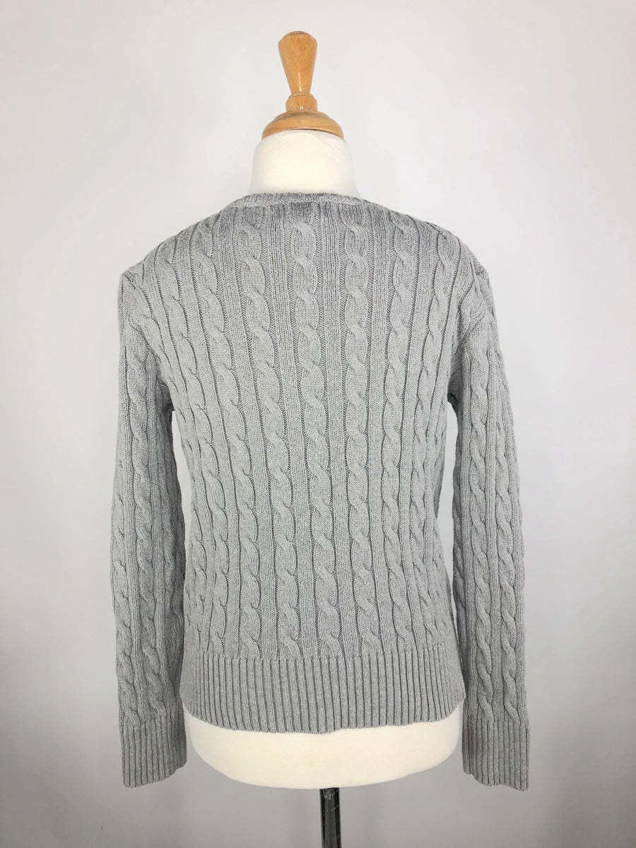 Polo Ralph Lauren Cable-Knit Sweater in Grey - Back View