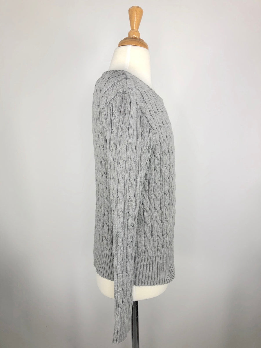 Polo Ralph Lauren Cable-Knit Sweater in Grey - Right Side View