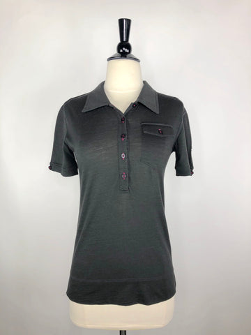 Asmar Equestrian Merino Polo in Black- Front View