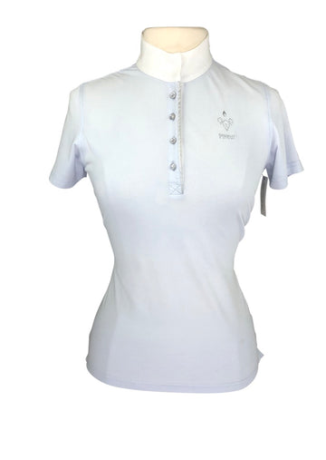 Front view of light blue Pikeur short sleeve polo. Crystal buttons and crystal logo