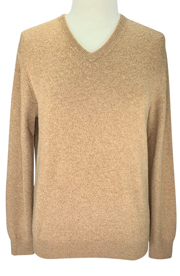 J. Crew V-Neck Sweater in Heather Camel