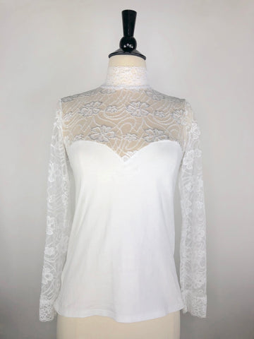 Cavalliera Lace Show Shirt in White -  Front View