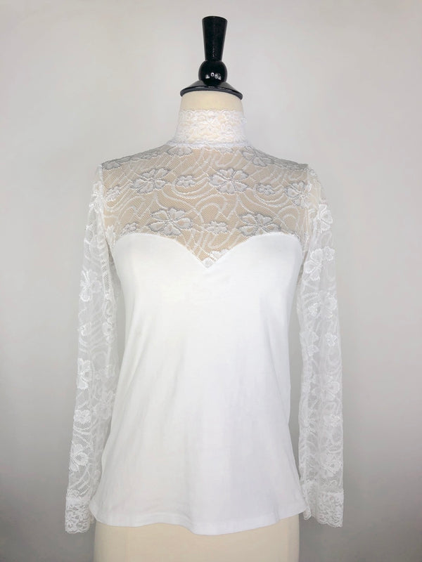 Cavalliera Lace Show Shirt in White - Women's Medium