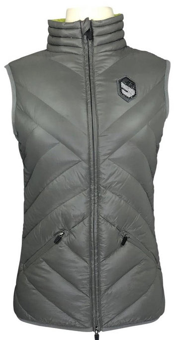 Front view of Samshield grey vest with swarovski crystal