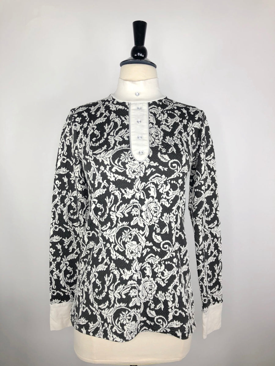 Cavalliera Limited Edition Damask Knit Show Shirt in Black/Ivory - Front View