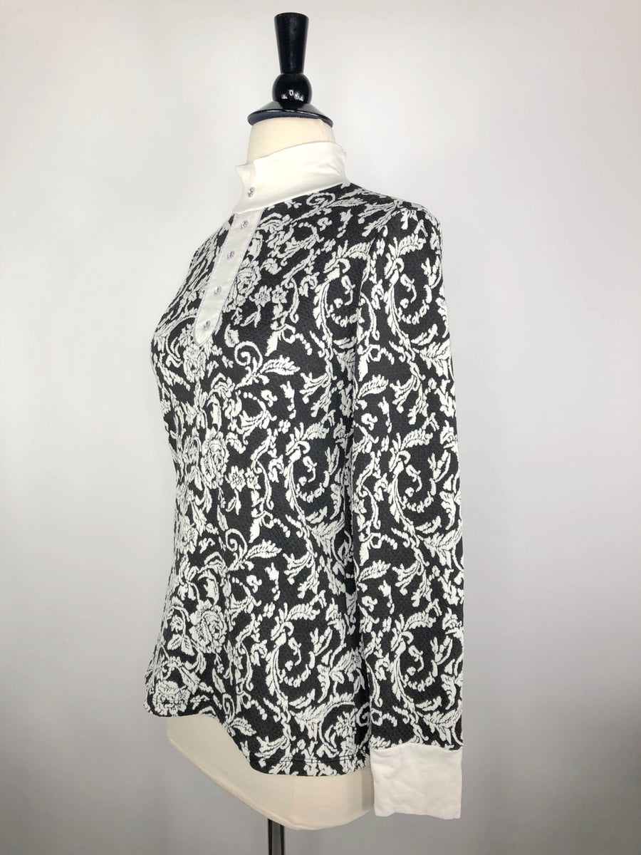 Cavalliera Limited Edition Damask Knit Show Shirt in Black/Ivory - Left Side View