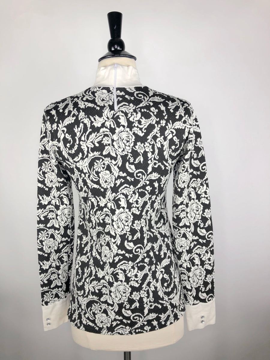Cavalliera Limited Edition Damask Knit Show Shirt in Black/Ivory - Back View