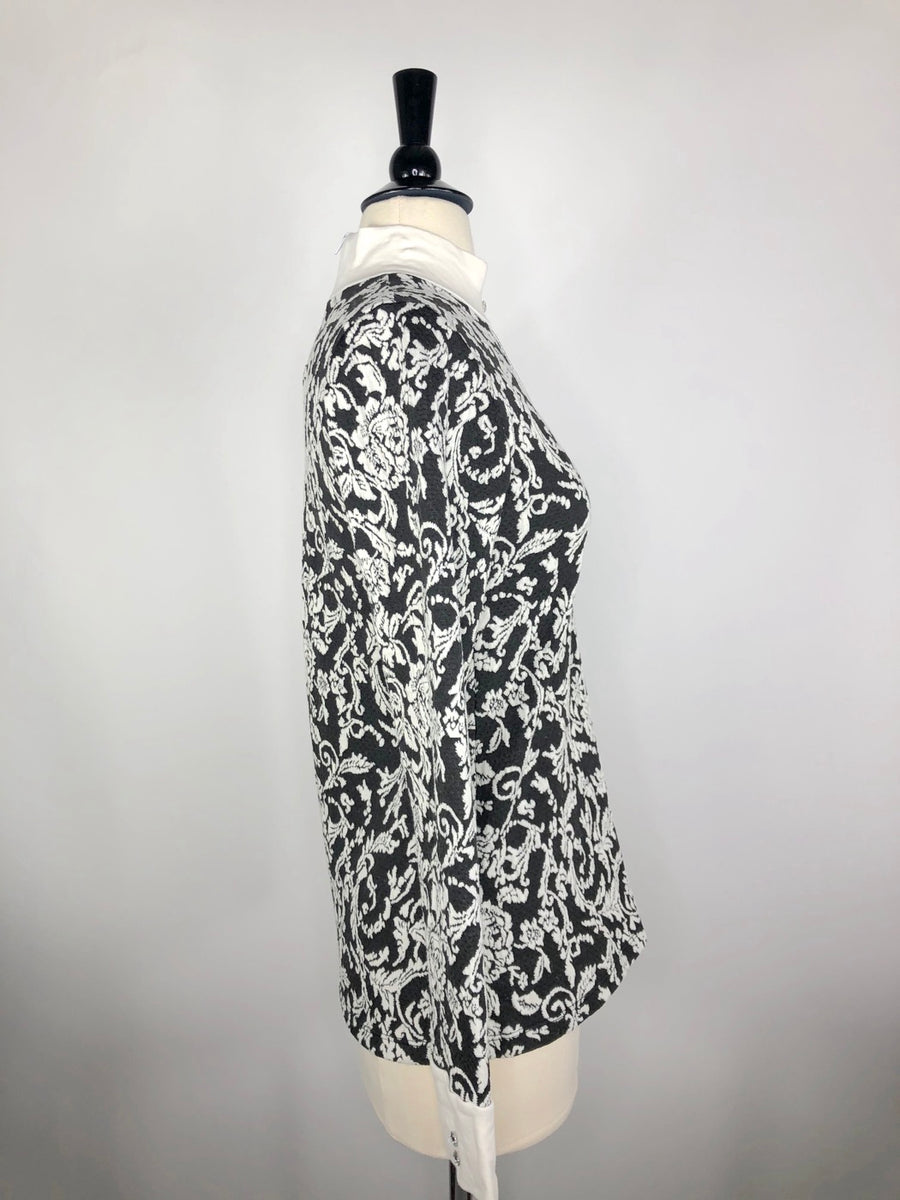 Cavalliera Limited Edition Damask Knit Show Shirt in Black/Ivory - Right Side View