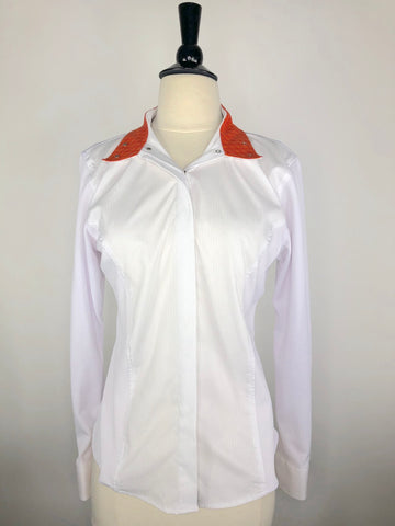 RJ Classics Prestige Collection Show Shirt in White/Orange -  Front Collar Open View
