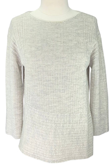 Poetry Rib-Stitch Sweater in Winter White
