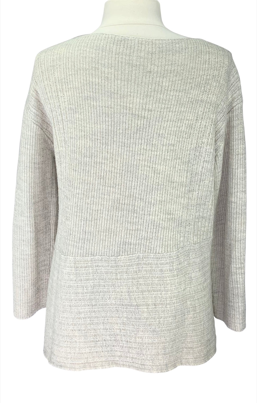 Back of Poetry Rib-Stitch Sweater in Winter White