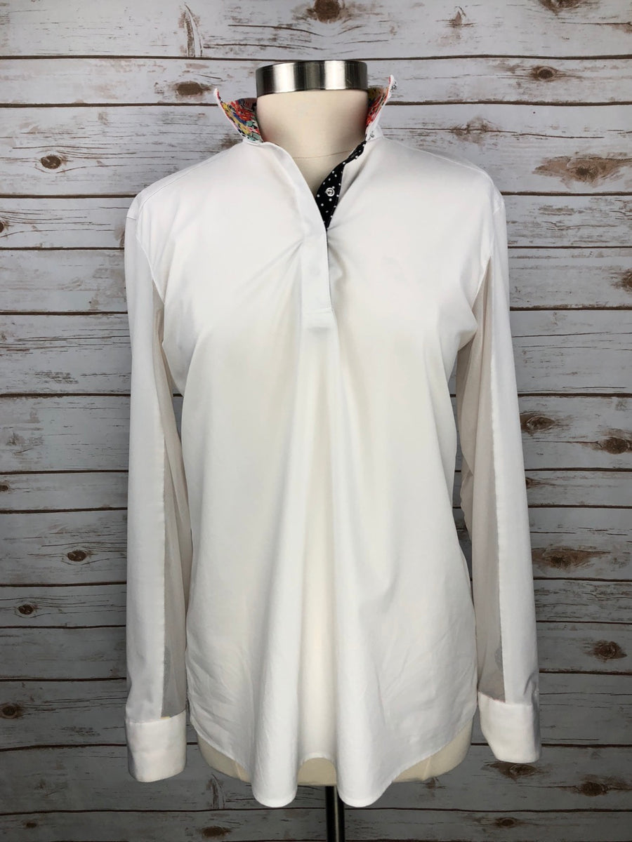 Rj Classics Prestige Collection Show Shirt in White/Floral Collar - Women's XL