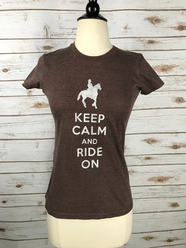 Oakbark and Chrome Keep Calm Tee in Heather Brown - Women's Small