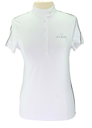 Equiline Short Sleeve Competition Shirt in White/Navy Piping