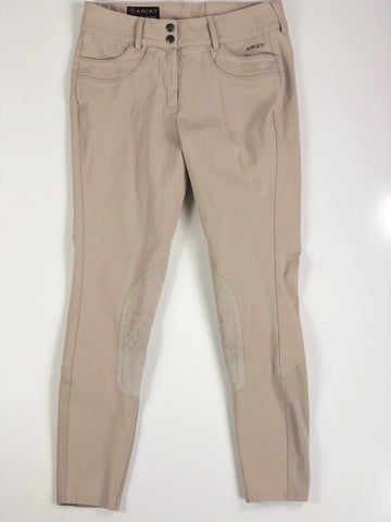 Ariat Olympia Knee Patch Breeches in Tan- Front View
