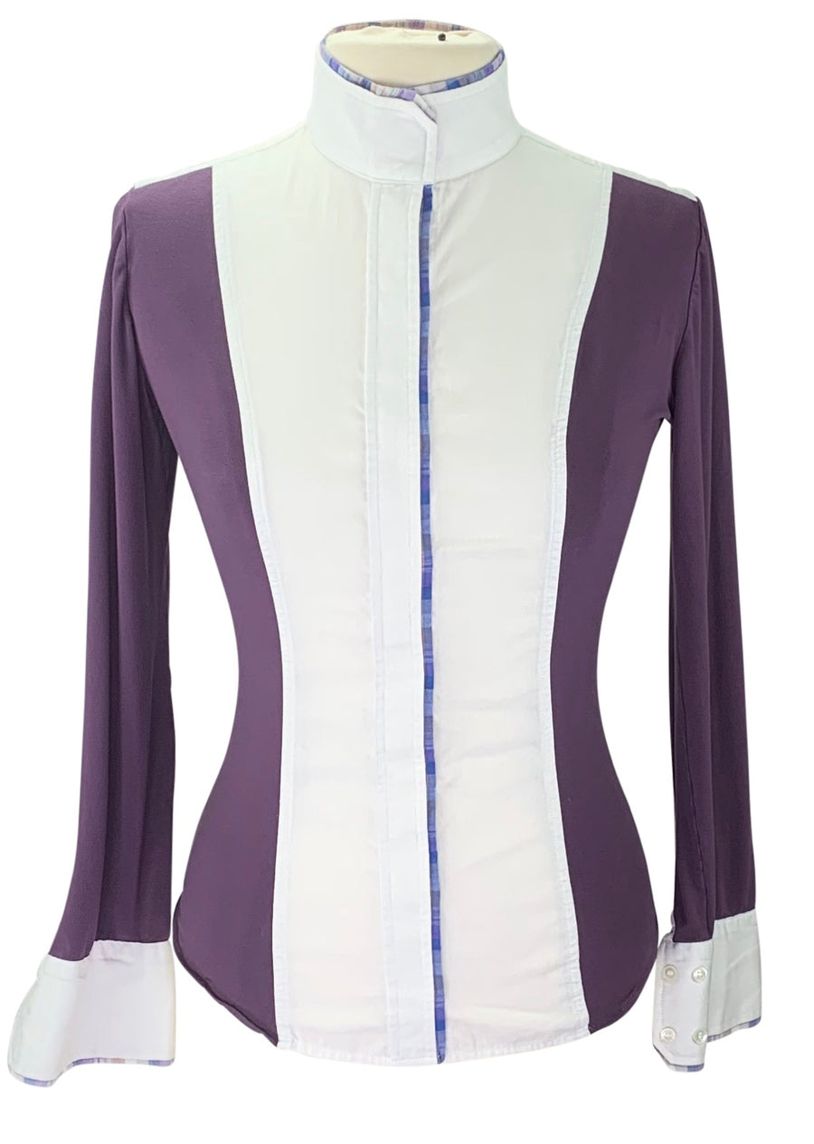 Le Fash Placket Long Sleeve Shirt in White/Purple Plaid