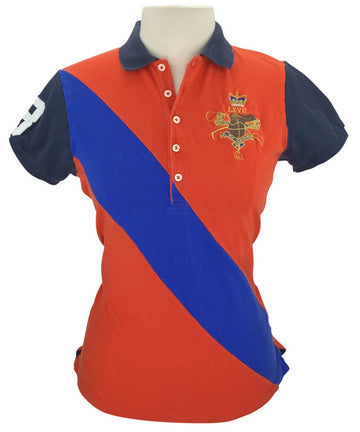 front view of Ralph Lauren Skinny Fit Polo in Orange/Blue